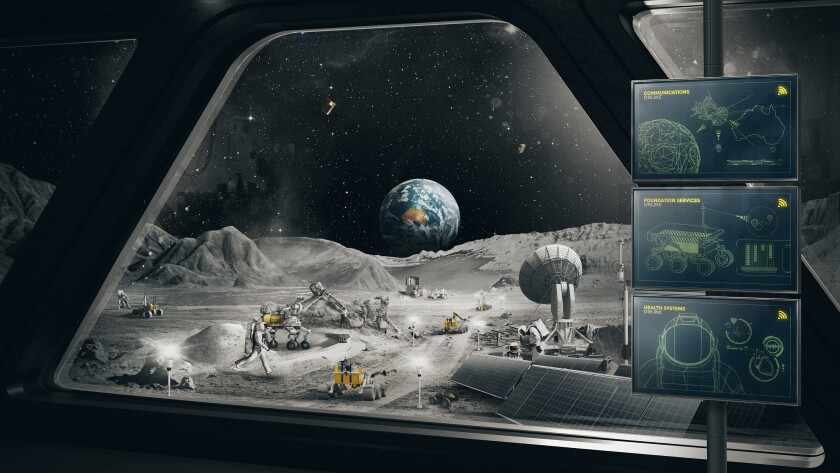 In this undated image released by the Australian Space Agency, an imagined scene on the moon is depicted. Australia has agreed to build a 20-kilogram (44-pound) semi-autonomous lunar rover for NASA to take to the moon as early as 2026 in search of oxygen, the Australian government said on Wednesday, Oct. 13, 2021. (Australian Space Agency via AP)