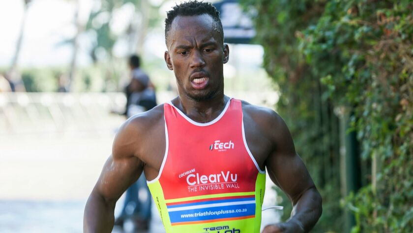 In this photo taken June 21, 2015 and supplied by B-Active Sports, Mhlengi Gwala competes in an even