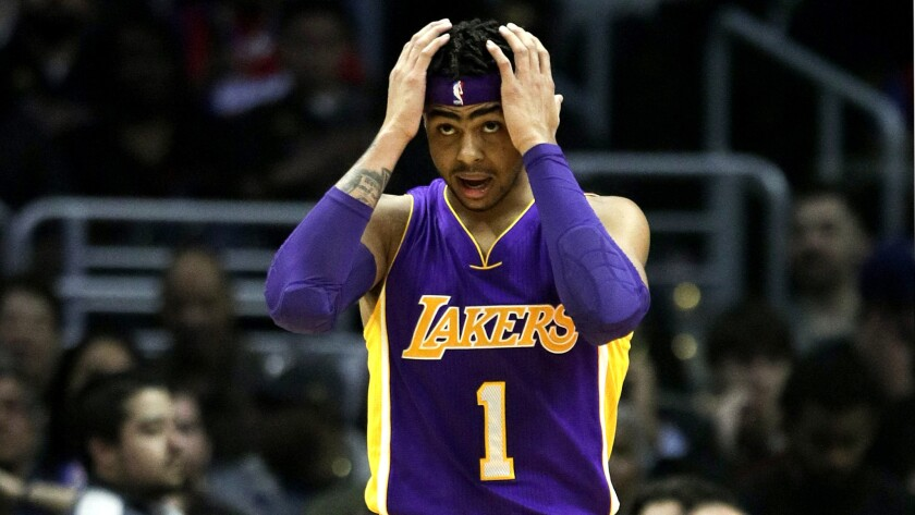 Lakers point guard D'Angelo Russell reacts to a play during the first half of the game against the Clippers on Jan. 14.