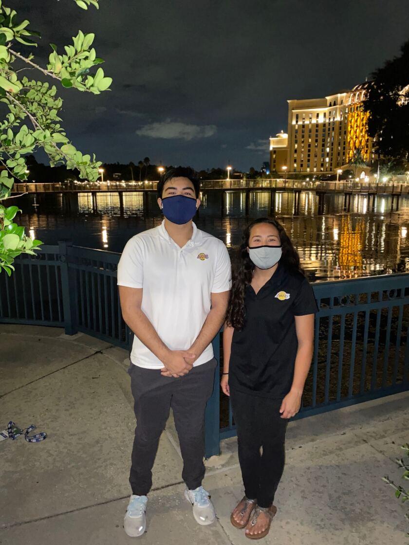 The Yamasaki siblings, Jayson and Stefani, at the NBA bubble in Orlando, Fla.