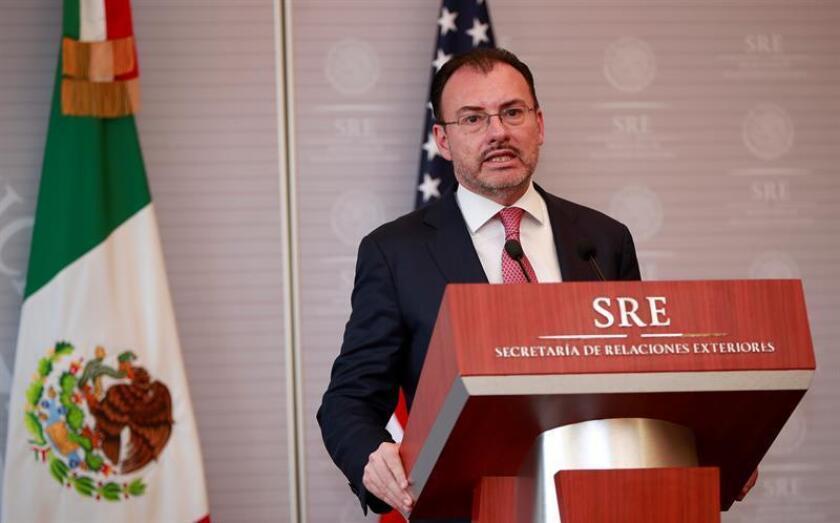 El secretario de Relaciones Exteriores de México, Luis Videgaray, habla durante una conferencia de prensa. EFE/Archivo