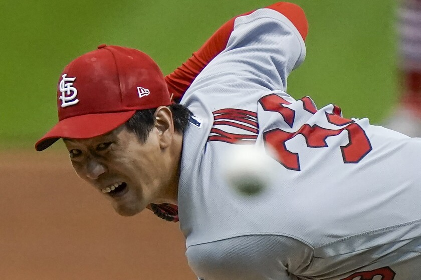 St. Louis Cardinals starting pitcher Kwang Hyun Kim throws against the Milwaukee Brewers on Sept. 14.