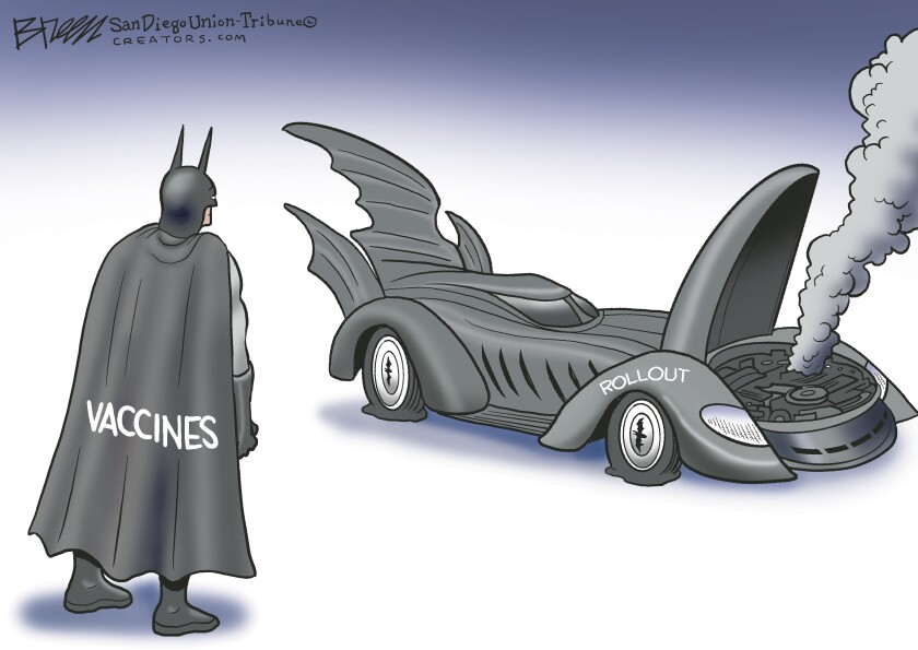 "In this Breen cartoon, Batman is labeled ""vaccines"" and his broken Batmobile is labeled ""Rollout"""