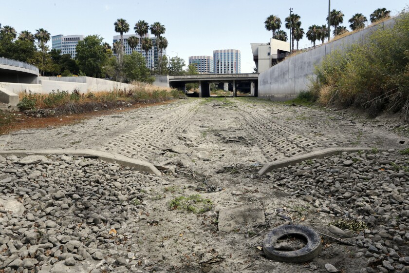 The dried-up Guadalupe River in San Jose in July.