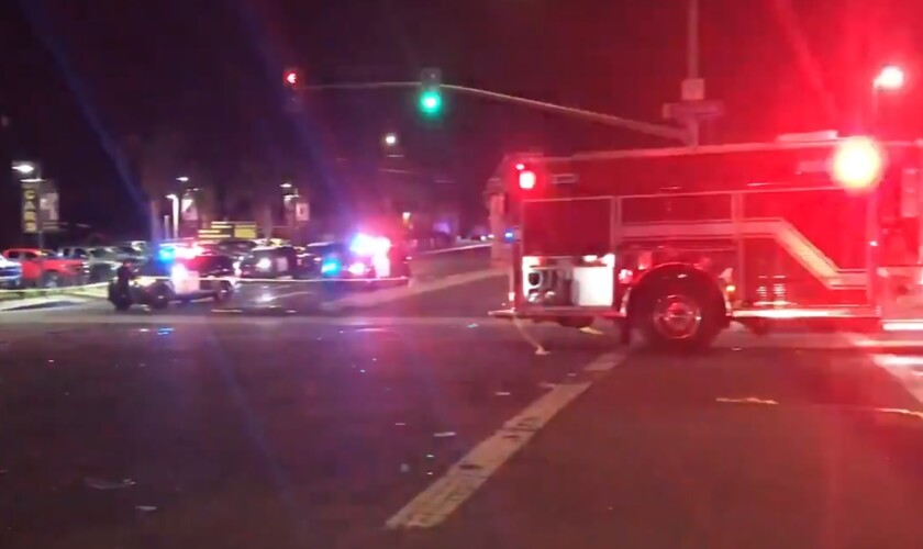 Police and firefighters responded Wednesday night to a four-vehicle crash that injured five people, two of them seriously.
