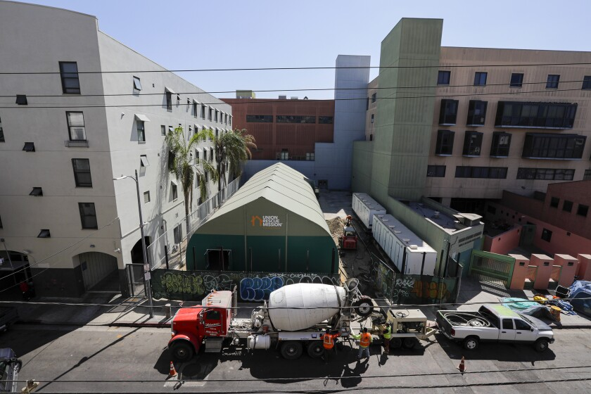 """A large """"membrane tent"""" at Union Rescue Mission will be used as a shelter for homeless people in Los Angeles."""