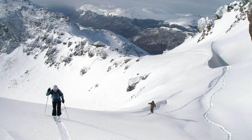 Skiers trek into the back country above the Cerro Castor Resort in Argentina.