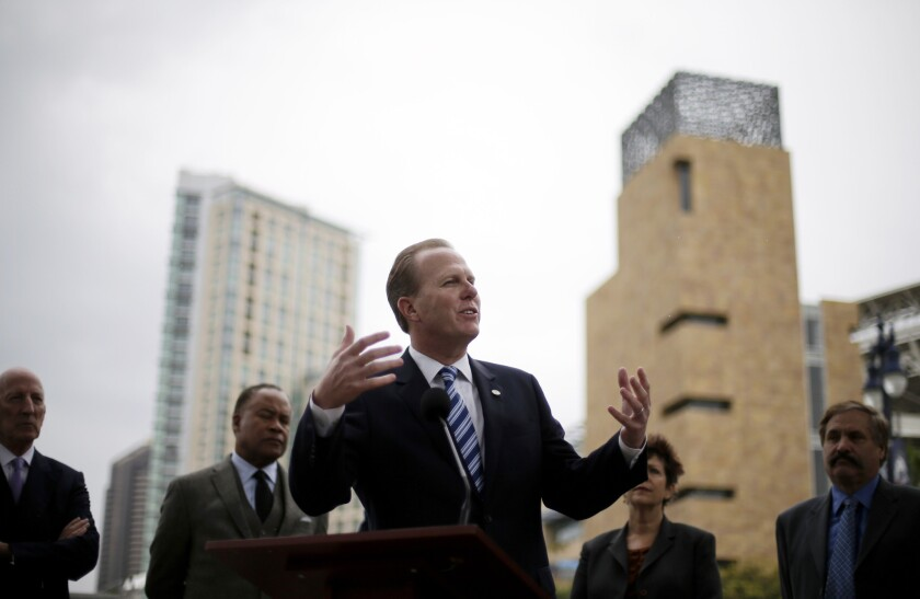 San Diego Mayor Kevin Faulconer speaks during a January news conference about the city's efforts to build a new stadium for the San Diego Chargers.