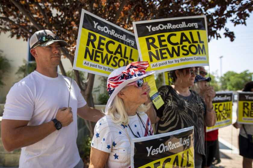 People attend anti-Newsom rally.
