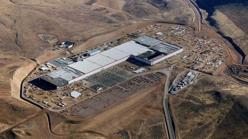 Tesla's battery plant outside Reno is seen in September 2017.