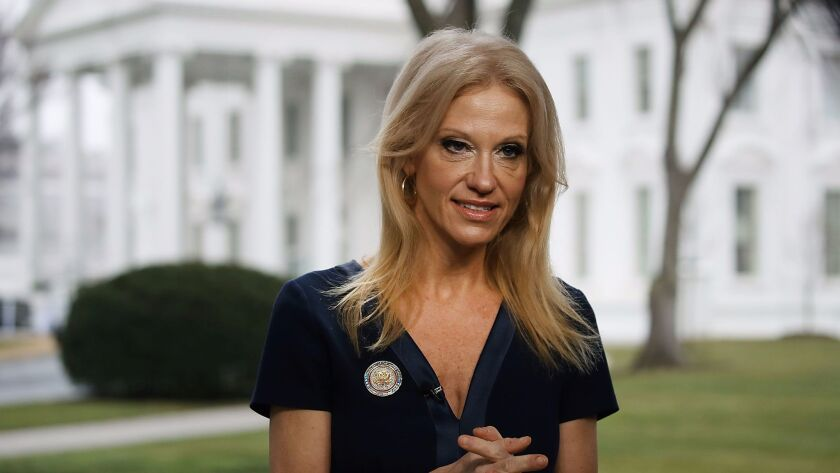 """Kellyanne Conway prepares to appear on """"Meet the Press"""" Sunday at the White House."""