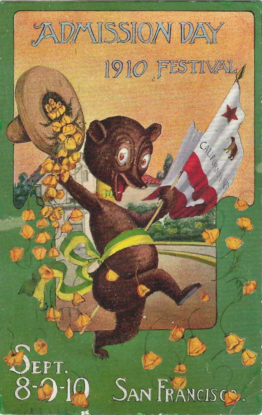 एक भालू का चित्रण और एक झंडा और पोपियों के साथ बहने वाली टोपी को पकड़े हुए।