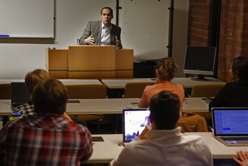 A professor lectures to his students at the McGeorge School of Law in Sacramento in February.