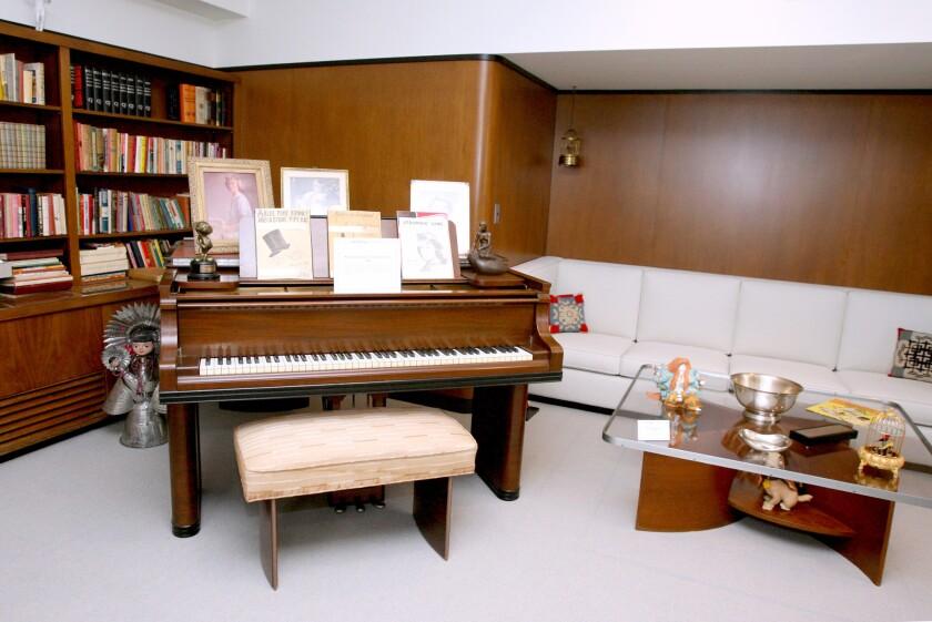 Piano in corner of Walt Disney's restored office suite