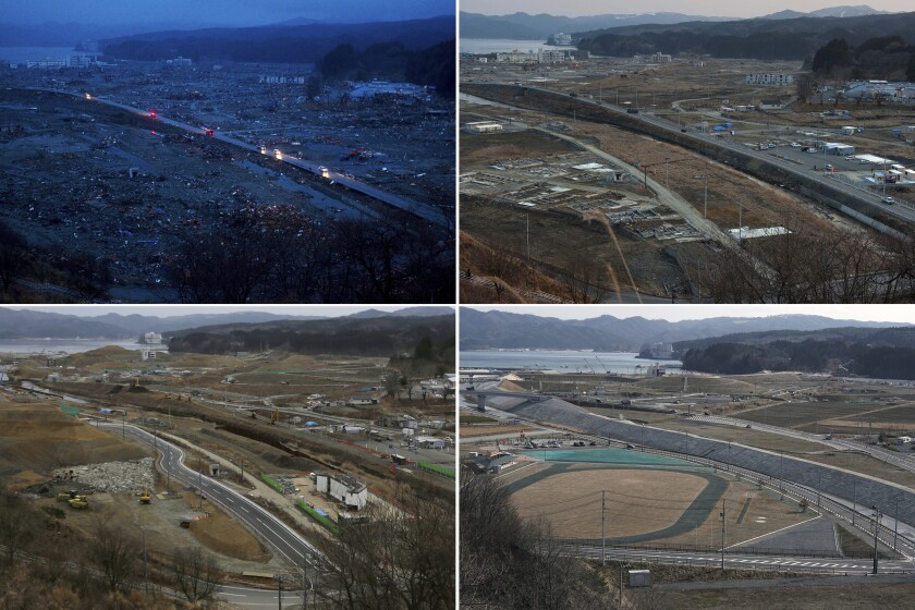 In this combination photo, from top left to bottom right, vehicles pass through the ruins of the leveled city of Minamisanriku, Miyagi Prefecture, northern Japan, on March 15, 2011, top, four days after the tsunami, and vehicles pass through the same area under construction on Feb. 23, 2012, on March 7, 2016 and Saturday, March 6, 2021. (AP Photo/David Guttenfelder and Eugene Hoshiko)