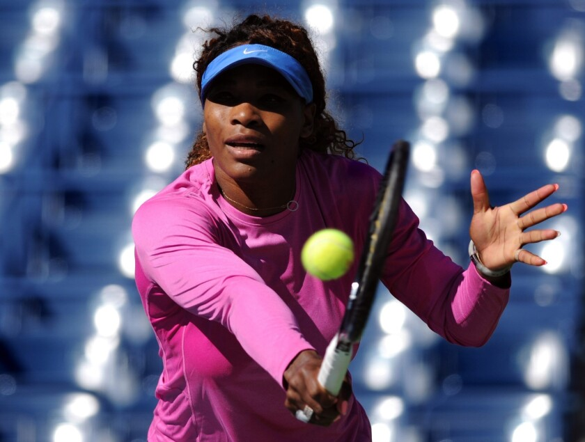 Serena Williams practices Saturday in Flushing, N.Y., in preparation for the U.S. Open.