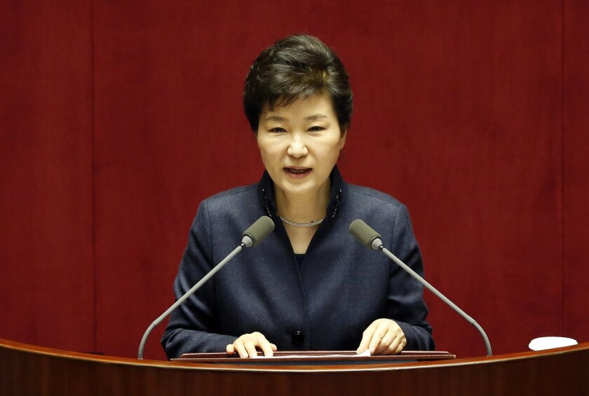 South Korean President Park Geun-hye delivers a speech at the National Assembly in Seoul, South Korea, Tuesday, Feb. 16, 2016. Park warned Tuesday that North Korea faces a collapse if it does not abandon its nuclear program, in unusually strong language that will likely infuriate Pyongyang. (AP Pho