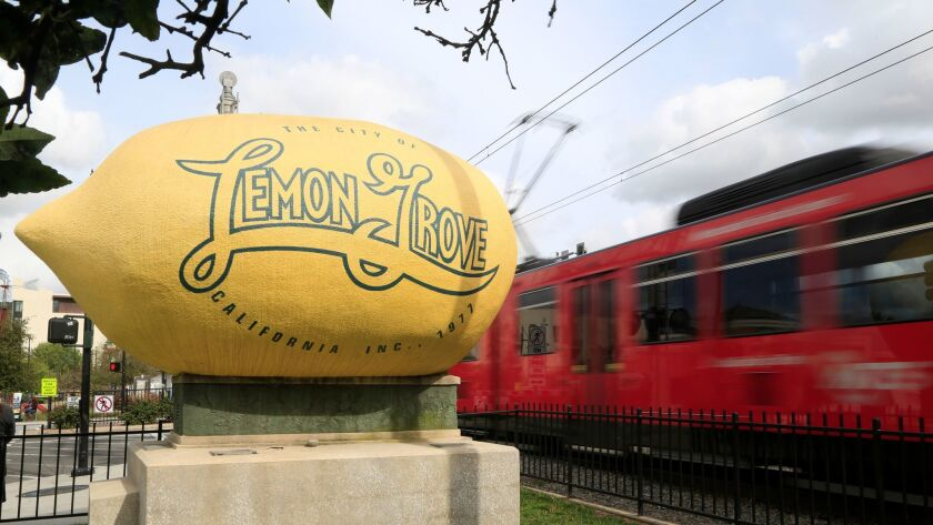 February 22nd 2017 Lemon_Grove_CA_USA | Lemon Grove lemon sits at the intersection of Broadway and L