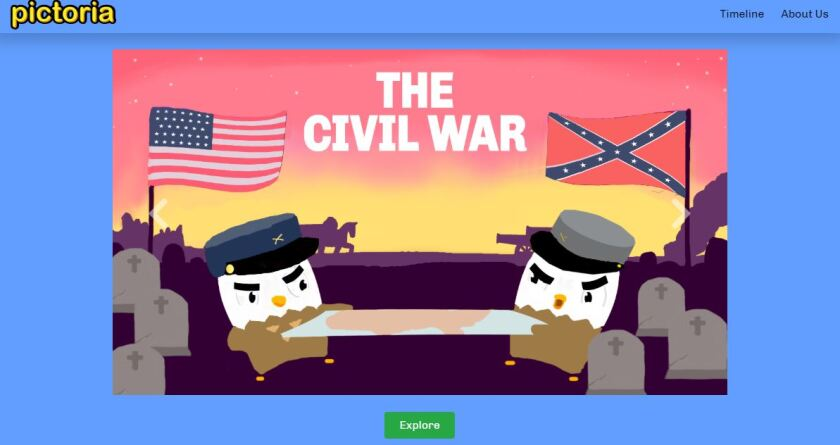 The Civil War portion of the website.