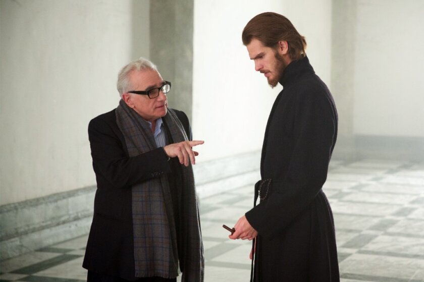 """Martin Scorsese and Andrew Garfield on the set of """"Silence."""""""