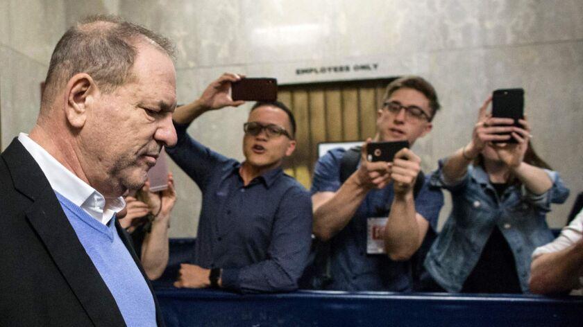 Harvey Weinstein leaves the Manhattan Criminal Court in New York.