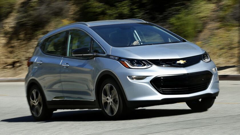 LOS ANGELES, CA-MAY 1, 2017: The Bolt EV, Chevrolet's answer to Tesla's Model 3, capable of traveli