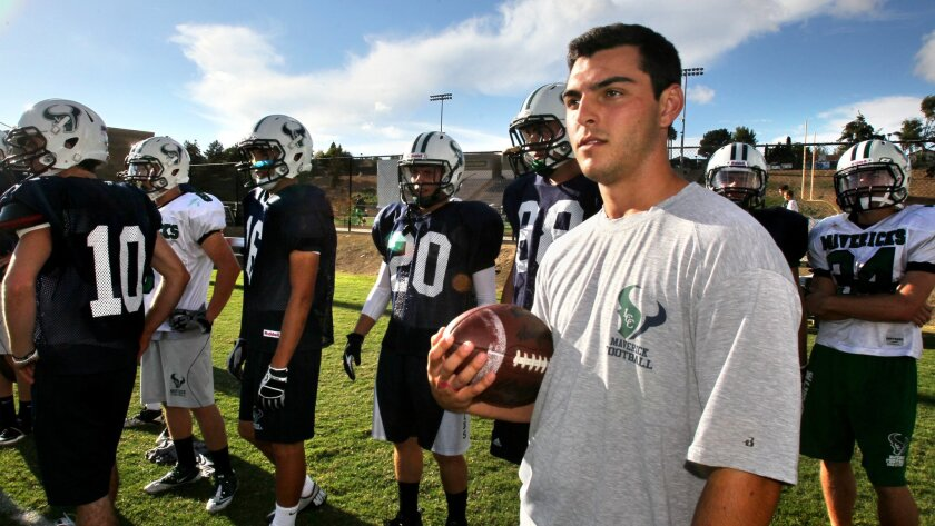During football this fall, Sam Casinelli has served as a student coaching assistant for La Costa Canyon.