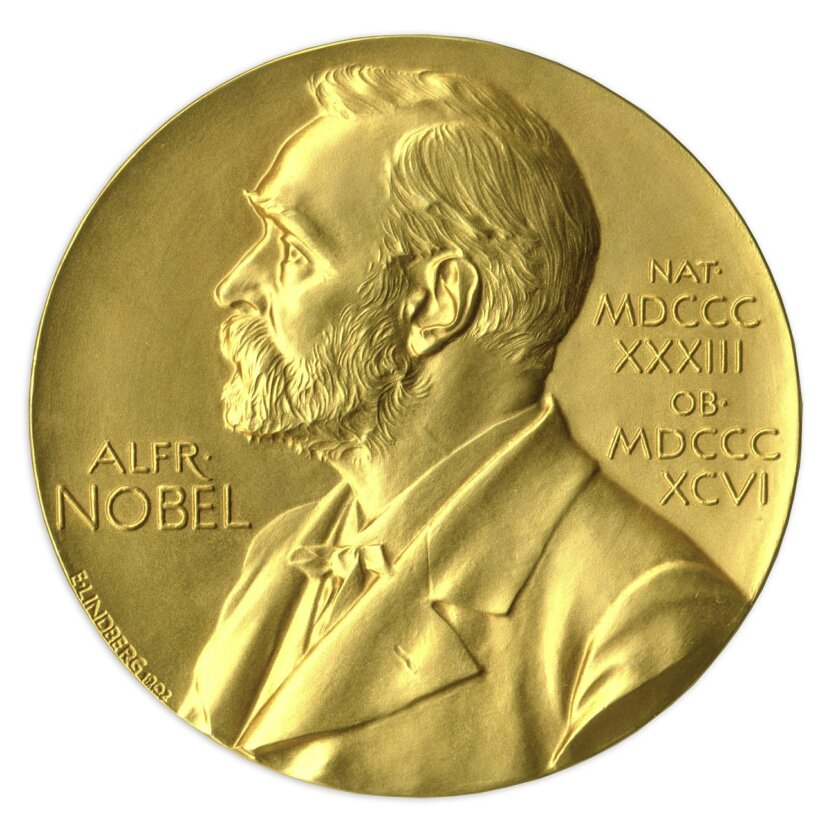 In this undated image provided by Nate D. Sanders Auctions, shows the obverse of the 1988 Nobel Prize in Physics awarded to Dr. Leon Lederman. The award will be auctioned by Nate D. Sanders Auctions on May 28, 2015. The auction marks only the second time a Nobel Prize is being sold by a living Nobel laureate, and is only the tenth Nobel Prize to go under the hammer. (Amanda Hart, Nate D. Sanders Auctions via AP)