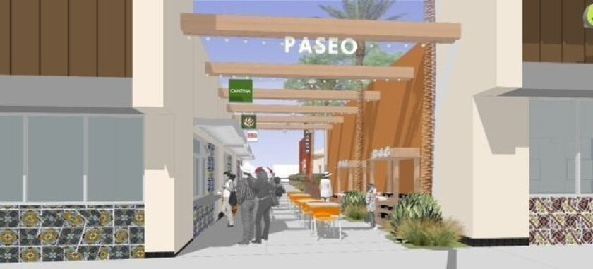 An architect's rendering of a passageway at the Zocalito of Pacoima retail center at the corner of Van Nuys Boulevard and San Fernando Road.