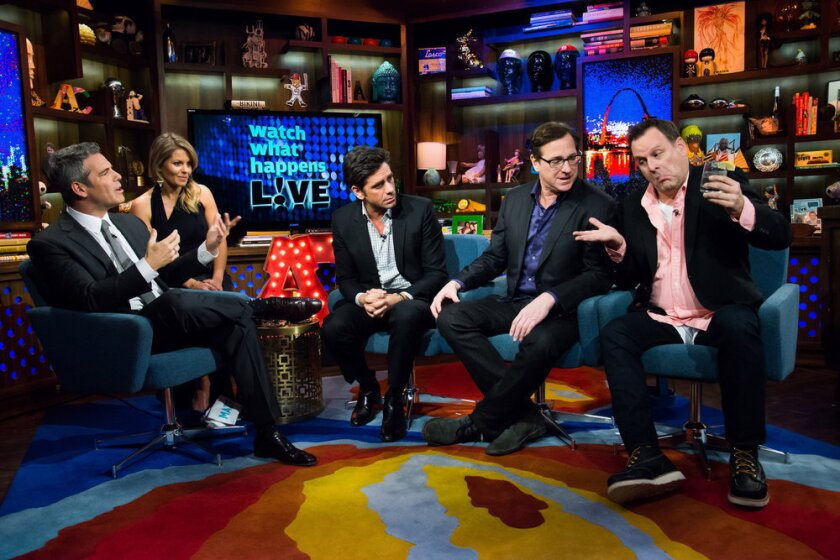 """Andy Cohen, far left, hosts """"Full House"""" alum Candace Cameron Bure, John Stamos, Bob Saget and Dave Coulier."""