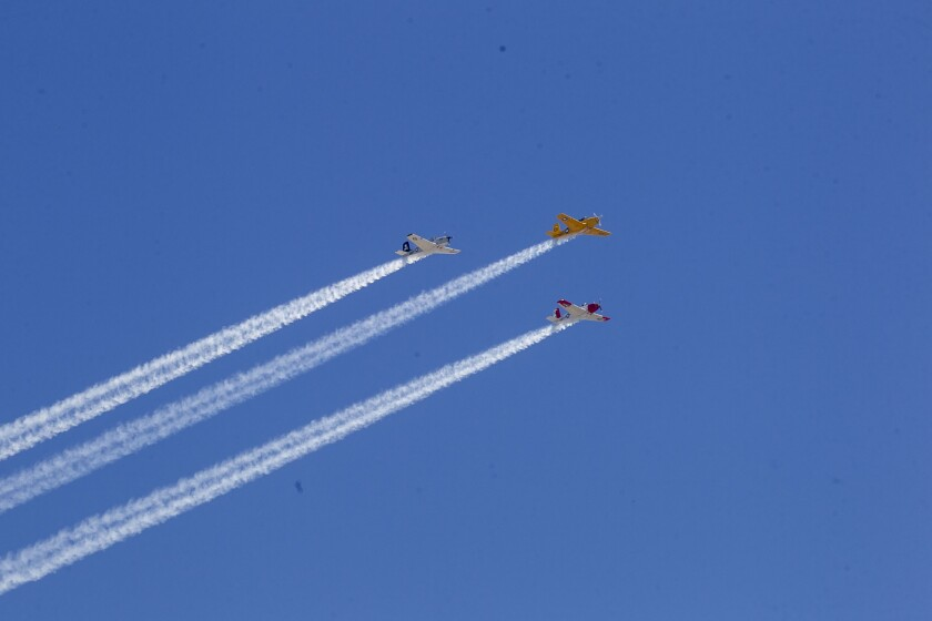Some 25 aircraft participated in a flyover of San Diego-area hospitals to salute healthcare workers on Friday morning.