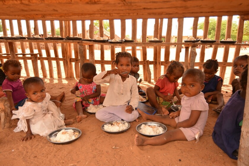During Madagascar's worst drought in 35 years, parents spend what little they have on food and water, leaving no money for school costs. World Food Program school meals keep children in class and address malnutrition.