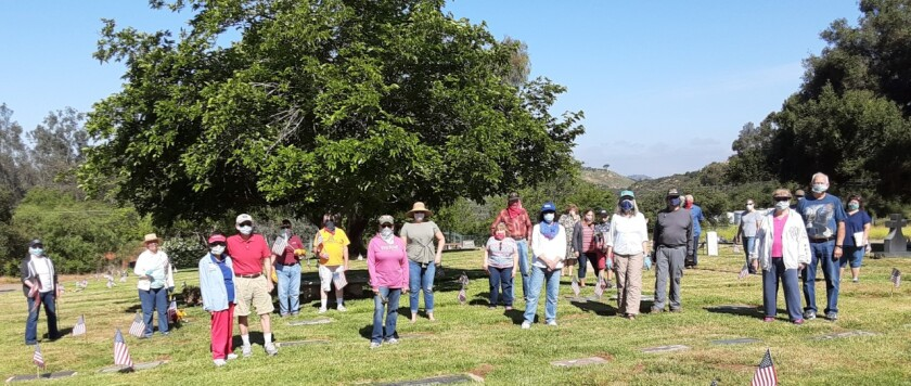 Center of the Valley Chapter, Daughters of the American Revolution, placed flags on the grave sites of nearly 300 veterans at the Valley Center Cemetery, for Memorial Day. Twenty one members and their husbands, plus associate member, Wanda Prosser, from the Santa Margarita Chapter, and her husband, Allen, participated in the event to honor veterans, three of whom fought in the Civil War. Regent, Sharon Healey-Bartholomew, had started this annual observance with the chapter when she found that there was no local commemoration of Memorial Day or Veterans Day at the cemetery. The chapter also brought the December Wreaths Across America ceremony to the Valley Center Cemetery. The DAR is open to women age 18 and older, lineally descended from an ancestor who helped the patriots fight for independence in the American Revolution. Visit nsdar.org