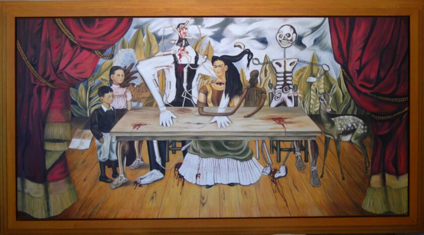 """This Feb 2010 photo provided by the Kunstmuseum Gehrke-Remund shows a licensed replica of the missing, original painting by Mexican artist Frida Kahlo, titled """"La Mesa Herida"""" in an unknown location. The whereabouts of the original 1940 painting, which disappeared more than six decades ago in Poland, will remain one of the great mysteries of contemporary art. Historians and scholars of the Mexican artist strongly reject the claim that the original is in a London warehouse, waiting for a buyer to spend more than 40 million euros on it. (Kunstmuseum Gehrke-Remund via AP)"""