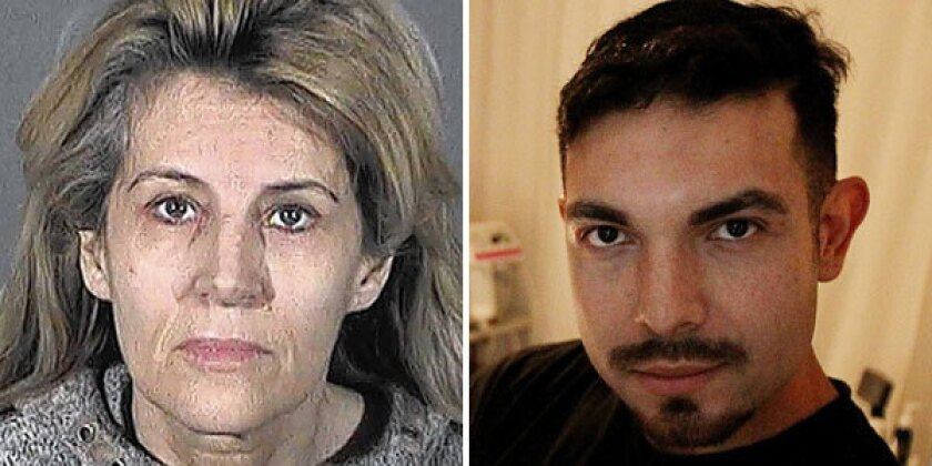 """Ex-model Dawn DaLuise, 55, who ran a """"skin refinery"""" in West Hollywood, is charged in a murder-for-hire plot against rival Gabriel Suarez."""