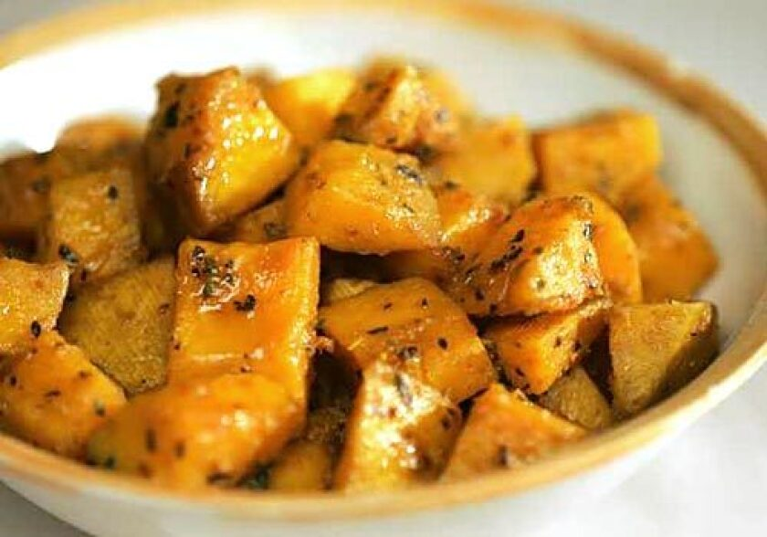 If roasting, give the cubes a turn in some good chile powder and moisten them with pumpkin seed oil first.