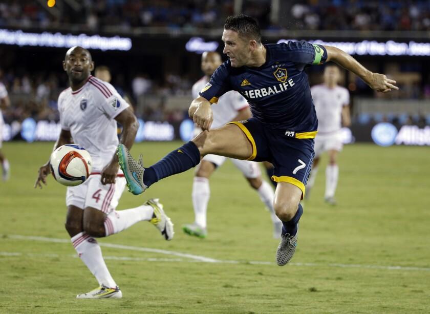 Galaxy forward Robbie Keane takes a shot on goal against the Earthquakes in San Jose on Aug. 28.