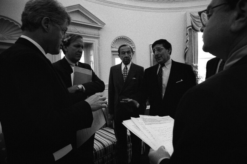 President Clinton, left, Press Secretary Mike McCurry, Secretary of State Warren Christopher and Chief of Staff Leon Panetta in a briefing in the Oval Office on April 20, 1995.