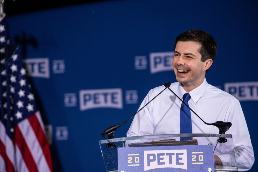 South Bend Mayor Pete Buttigieg holds a rally to announce his run for president in the 2020 election at Studebaker Building 84 in downtown South Bend on April 14, 2019.