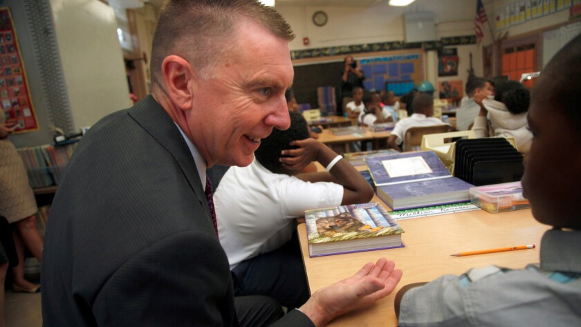 LAUSD Superintendent John Deasy tours classes on the first day of instruction at the Baldwin Hills Elementary School in Los Angeles Aug. 12, 2014.