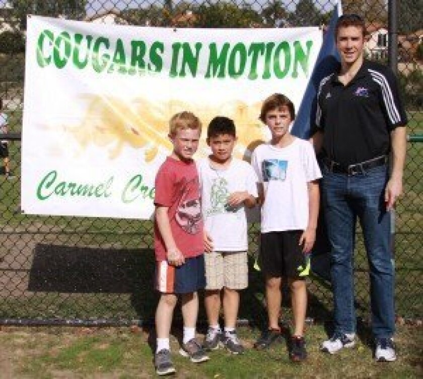 Soren Thompson (right) during a recent visit to Carmel Creek School in Carmel Valley.