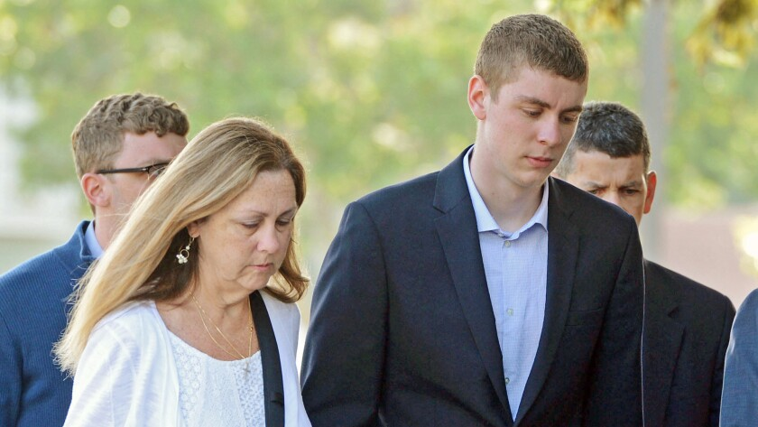 Brock Turner, right, was convicted of sexually assaulting a woman after a Stanford fraternity party.