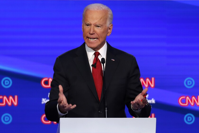Joe Biden speaks during a Democratic debate