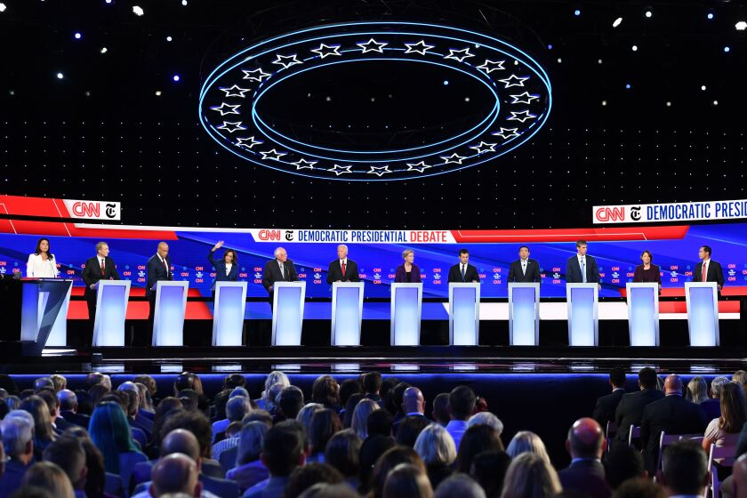 Twelve Democratic presidential candidates crowded the stage for the Oct. 15 debate in Ohio.