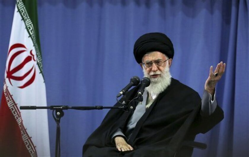 In this photo released by an official website of the Iranian supreme leader's office, supreme leader Ayatollah Ali Khamenei, addresses a group of Iranian military commanders in Tehran, Iran, Wednesday, April 17, 2013. Iran's top leader has condemned the bombing attack in Boston but at the same time