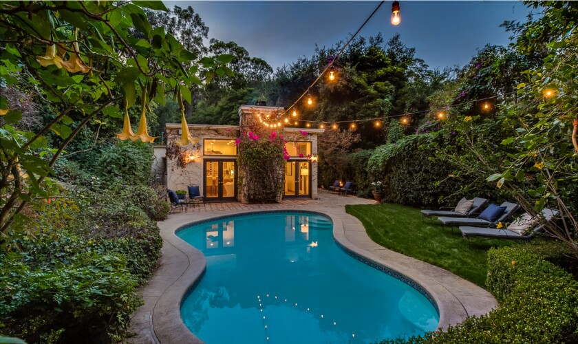 The backyard, with pool, of Kevin McKidd's Hollywood Hills villa