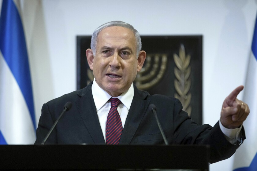 Israeli Prime Minister Benjamin Netanyahu makes a statement in Jerusalem.