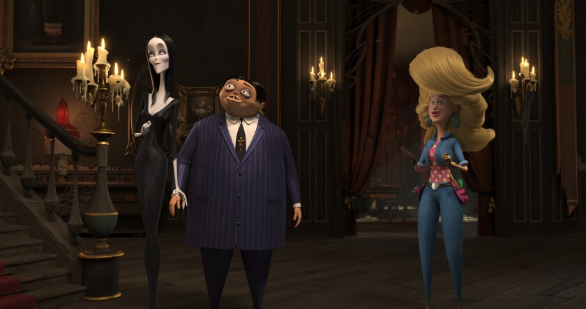 A TV rehab superstar voiced by Allison Janney crashes the family's creepy mansion in the new feature.