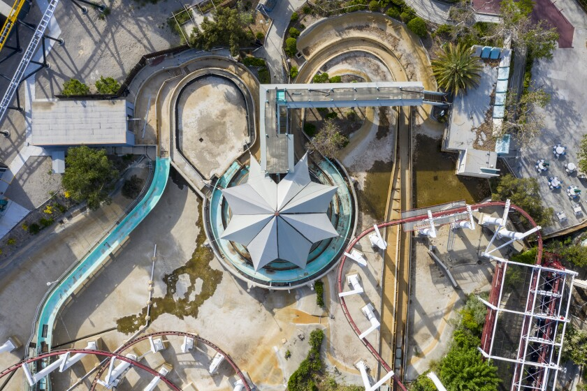 Aerial view of Six Flags Magic Mountain, closed due to the COVID-19 pandemic