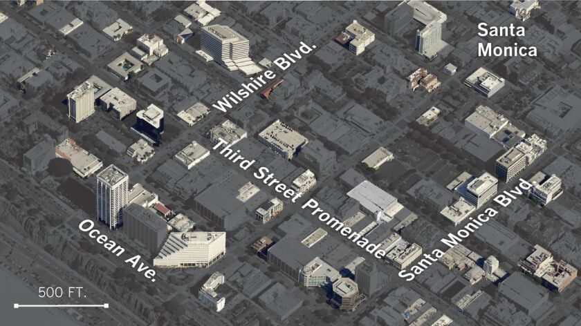 Suspected quake-vulnerable buildings in downtown Santa Monica. Under a newly passed city law, suspect buildings will be required to undergo a seismic evaluation and, if necessary, be retrofitted.